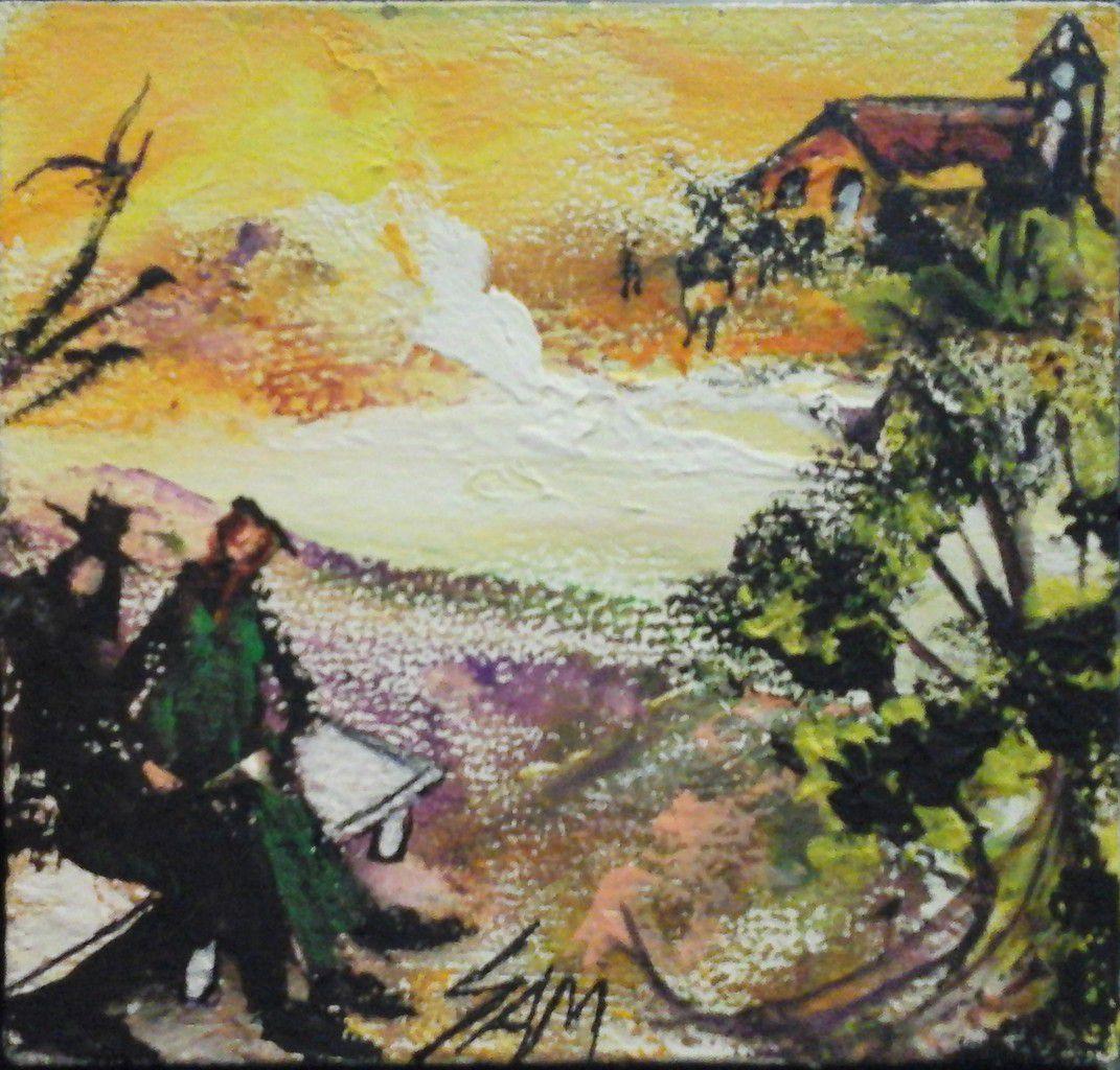 """""""  TOUT LES DEUX  AMOUREUX SUR LE BANC  """"  Peinture gouache sur bois.   10 cm x 9,5 cm"""