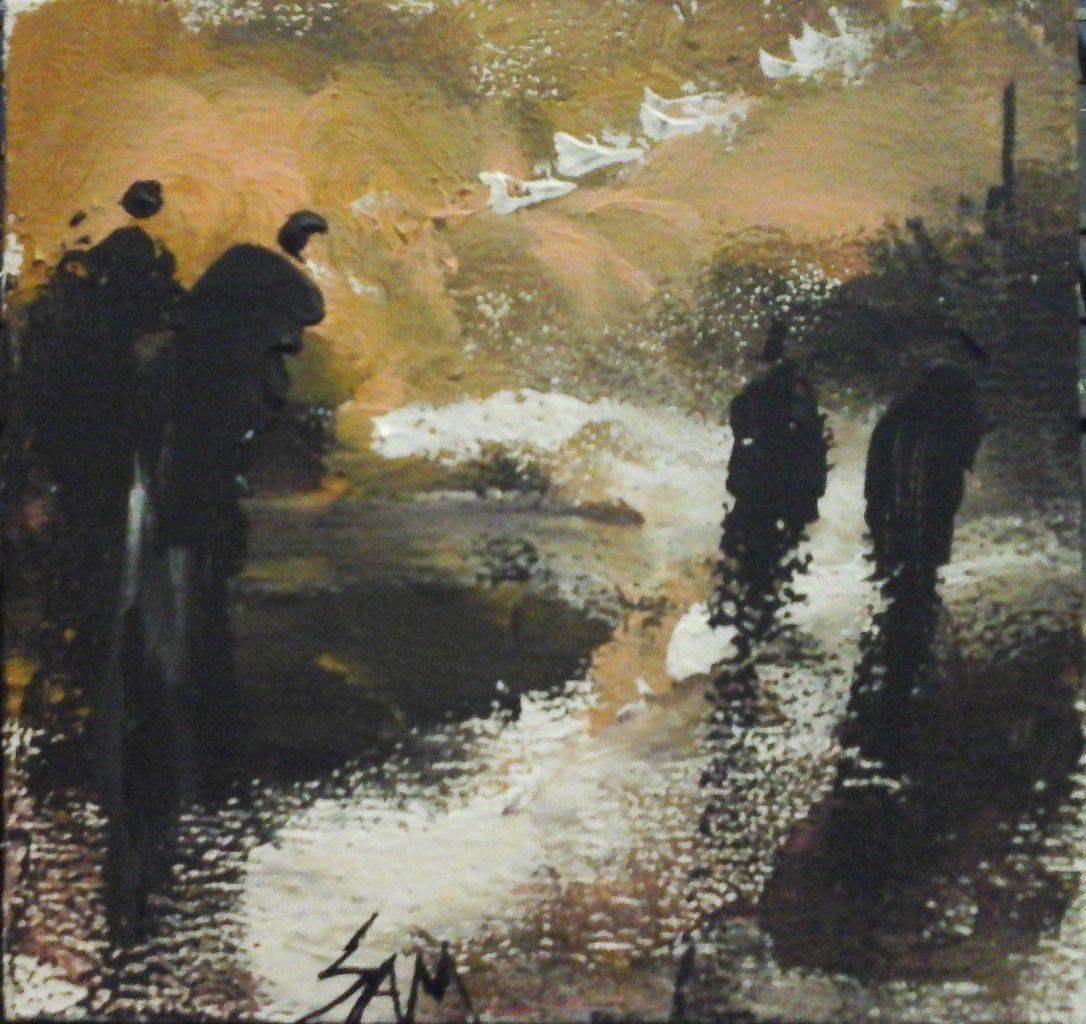 """""""  CEUX QUI SUIVENT LA TRACE  ... """"  Peinture gouache sur bois.  10 cm x 9,5 cm"""