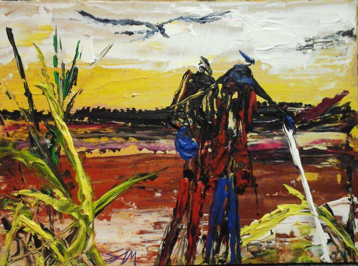 """""""  IN  THE LAST HOURS OF THE DAY """"    acrylic paint with a knife    26 cm x 19 cm  """" AUX DERNIÈRES HEURES DU JOUR  """"  Peinture  acrylique au couteau   26 cm x 19 cm"""