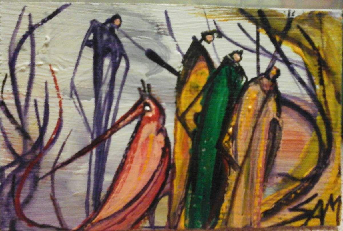 """""""  L' OISEAU PORTE BONHEUR """"  Peinture gouache sur bois.  11 cm x 7 cm"""