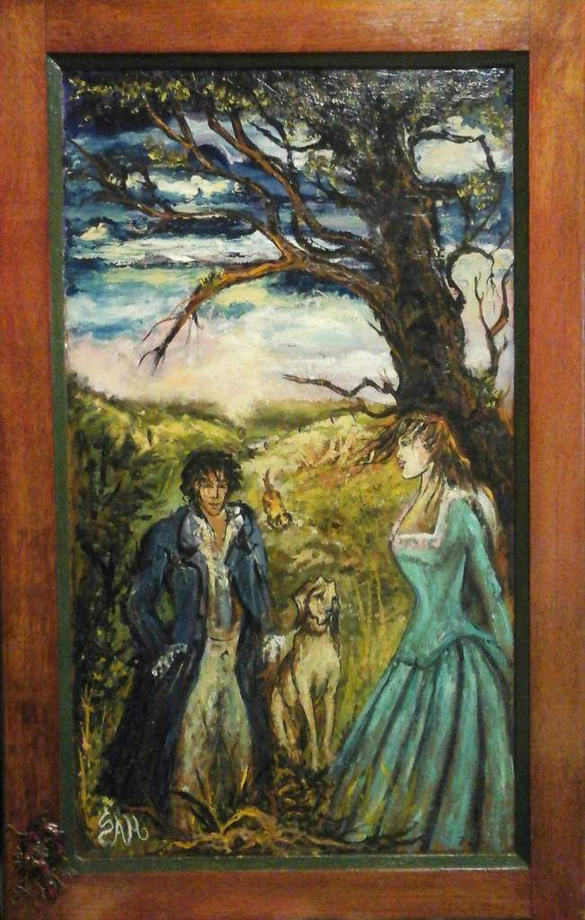 """""""  WUTHERING HEIGHTS HEATHCLIFF  AND  CATHY ( 1 )  """"  Acrylic painting on wood.  78 cm x 50 cm"""