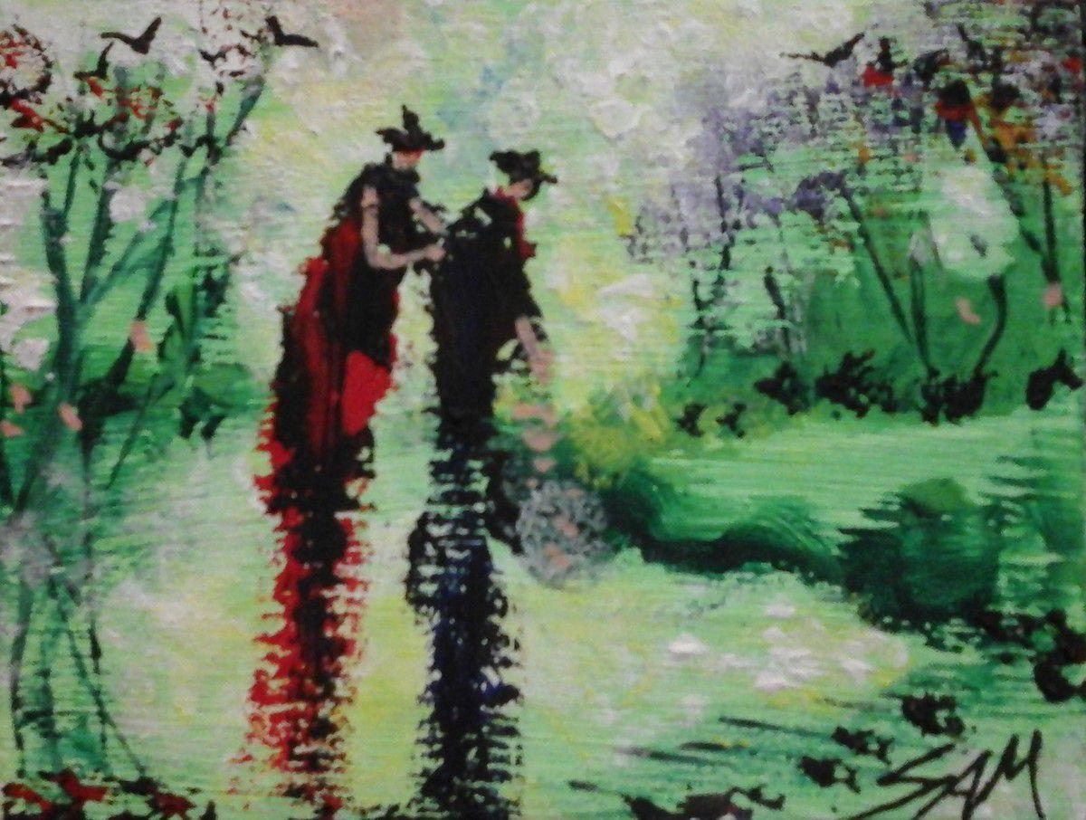 """""""  QU' ELLE EST VERTE MA PRAIRIE """" Miniature, Peinture gouache sur bois.  10 cm x 7,5 cm"""