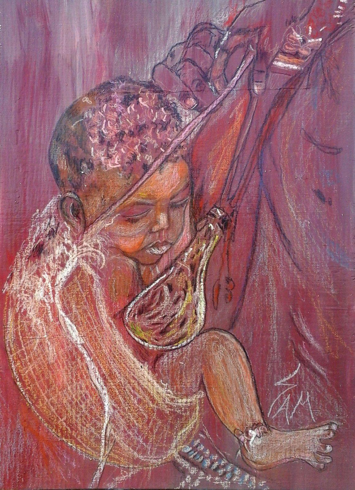 """""""  RAMY LE PETIT AFRICAIN """"  Peinture gouache, pastel sur bois.  haut  38 cm  larg  27,5."""
