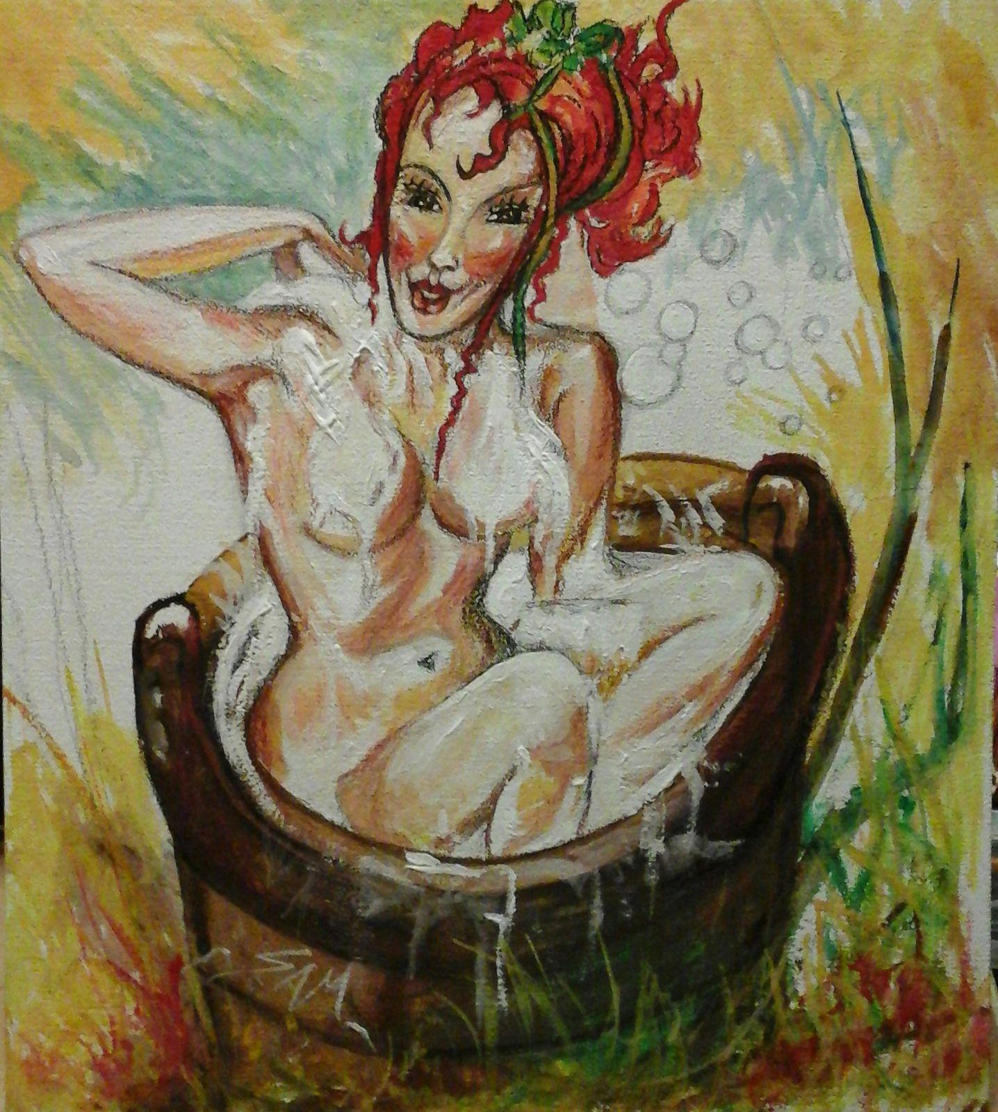 """""""  JOLY, SOURIT DANS SA MOUSSE  """" Peinture acrylique et gouache  ( haut 36 cm largeur 32 cm )"""