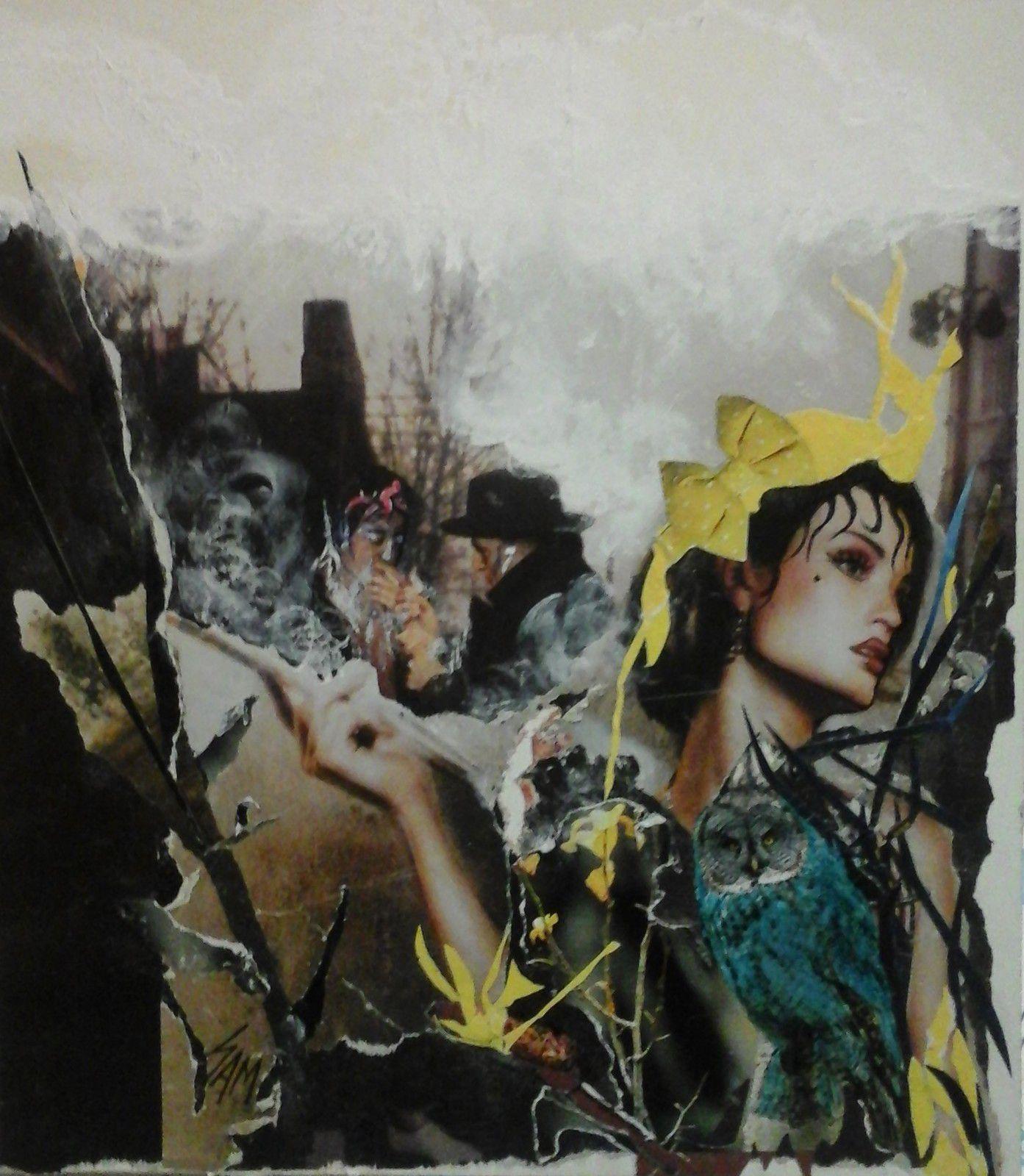 """""""  LA CHOUETTE COMTESSE """"  Composition, collage montage sur papier collé sur bois. Acrylique,pastel huile et crayon. haut  27 cm largeur 23,5 cm"""