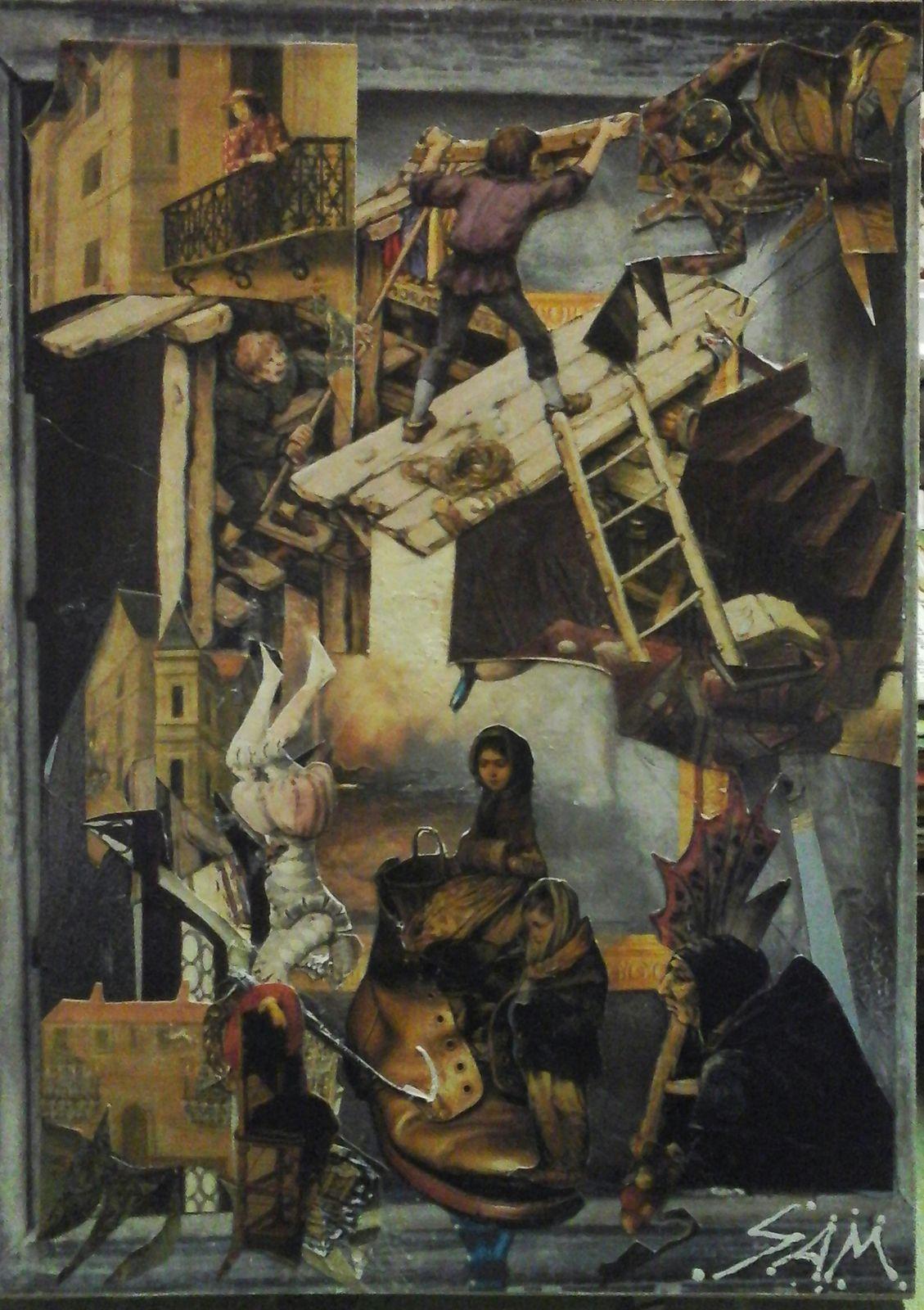 """""""  DANS LE DOMAINE DE L' ÉTRANGE  """"  Composition collage montage sur papier, collé sur un support en bois.  haut  25,5 cm largeur  18 cm. Peinture acrylique pastel huile et crayon."""