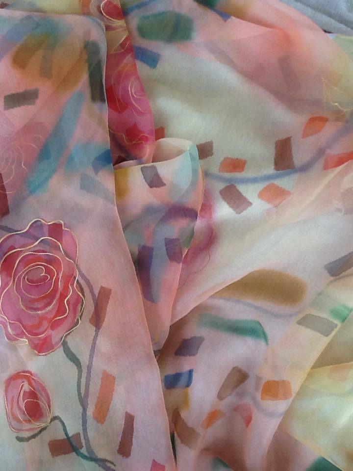 Peinture à main levée sur mousseline,écharpes et carrés