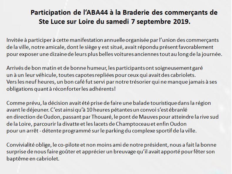 ABA - Samedi 7 /09/ 2019 Braderie des commerçants de Ste Luce