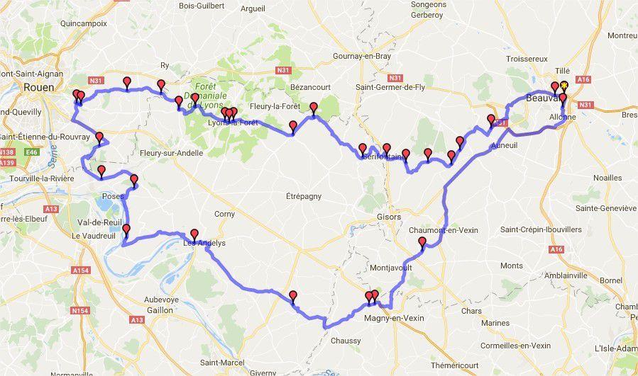 Itinéraire de la balade autour d'Etrepagny