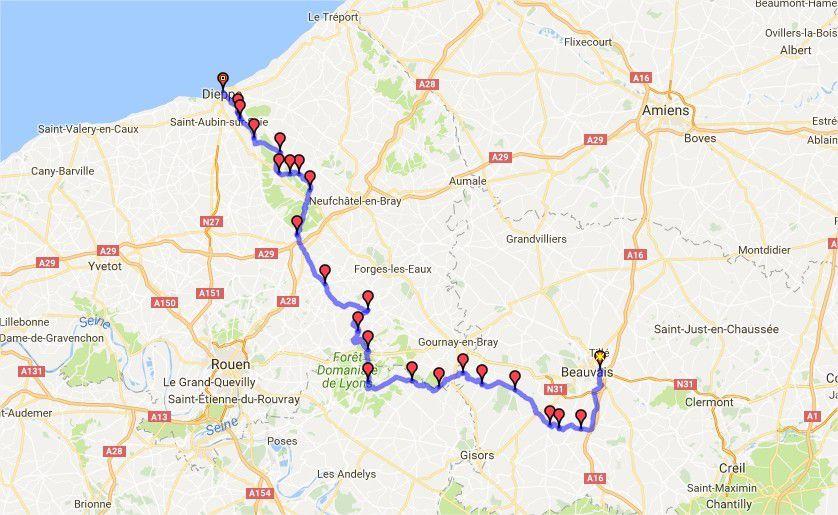 Itinéraire trajet aller Dieppe par le chemin des écoliers