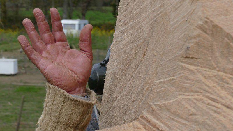 La création d'une oeuvre par David Puech, pour magnifier le grand chêne mort par la foudre. Oeuvre dévoilée lors de la prochaine inauguration de l'éco-hameau.
