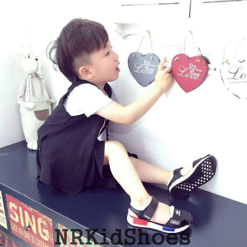 Black Adidas Nmd Children S Shoes Upper Leather Fashion Sandals