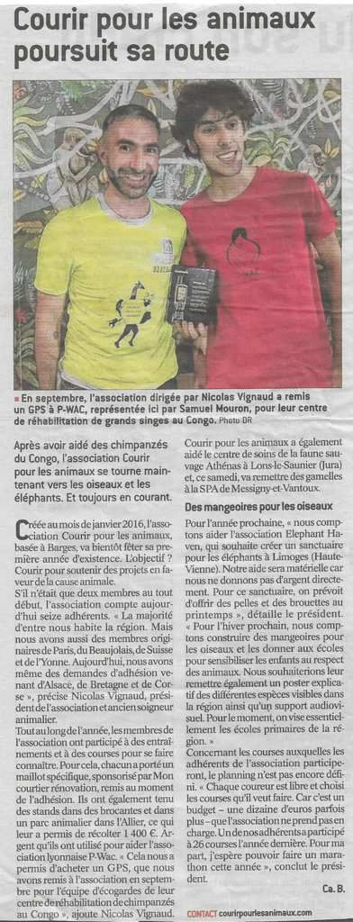 Article de journal le Bien Public du 23/12/2017