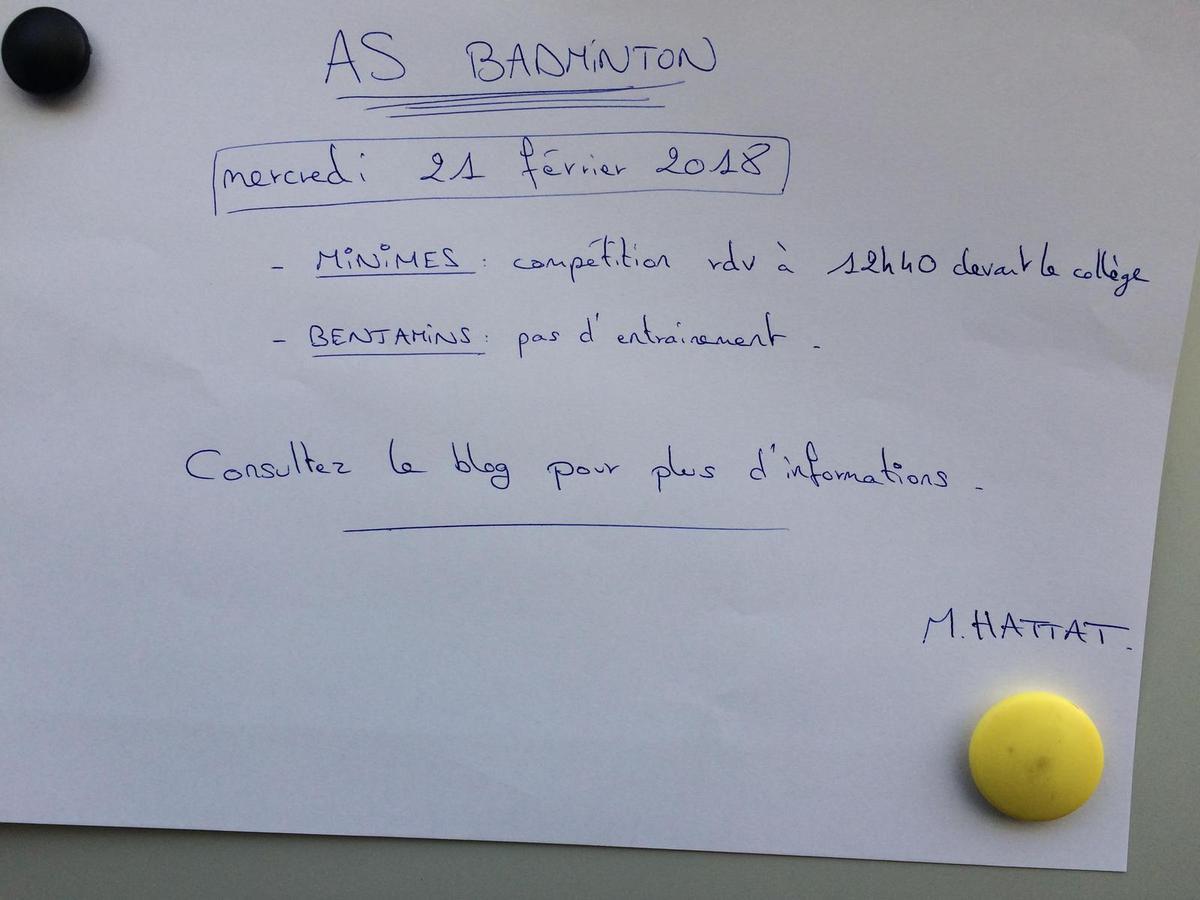 As badminton : compétition le 21 février 2018 - Finales districts minimes