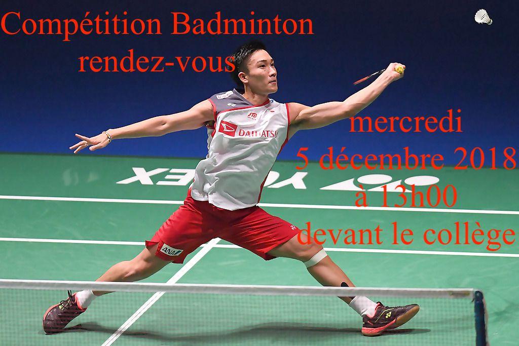 Compétition Badminton mercredi 5 décembre 2018 à 13h