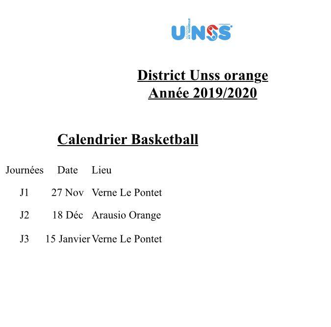 Calendrier Basketball 2019-2020