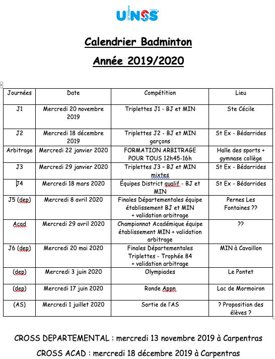 Calendrier Badminton mis à jour au 18/12/2019