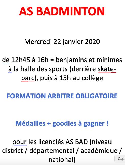 Formation arbitrage Badminton