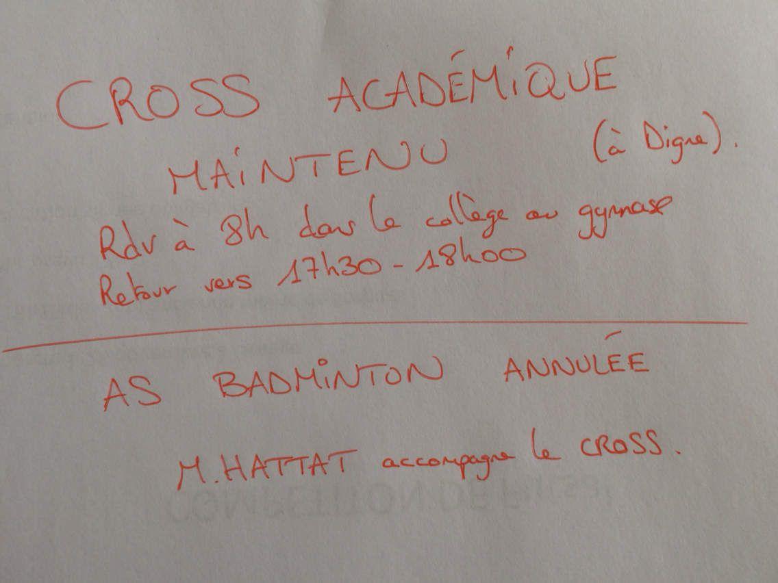 Cross académique maintenu + As badminton annulée
