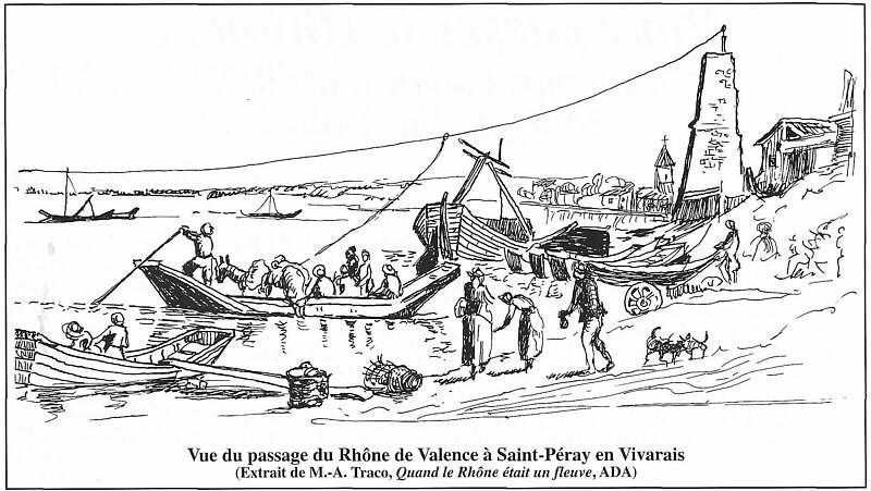 1 et 2 Principe du bac à traille (1: tiré par un homme,2: tiré par un câble en utilisant la force du courrant).  3,4,5 le bac à Vereux. 6 le bac à Savoyeux. 7 un bac à traille sur la Saône à Jussey.