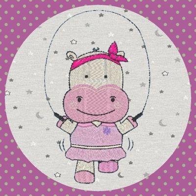 Broderie Hippo corde à sauter
