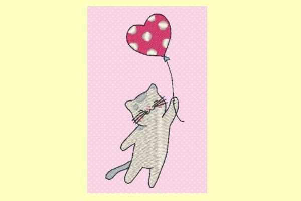 Broderie machine gratuite petit chat au ballon