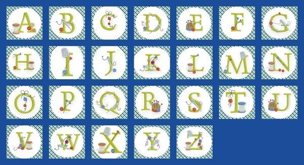 Broderie machine gratuite alphabet thème couture
