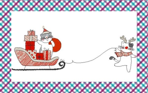 Broderie machine gratuite amis animaux chat et le traineau noel