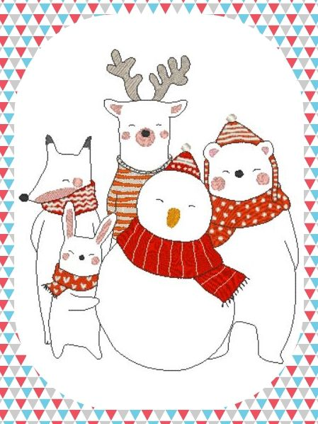 Broderie machine gratuite animaux de Noel