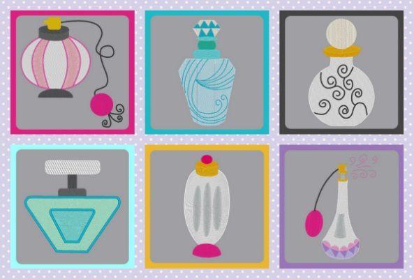 Broderie gratuite à la machine flacons de parfum