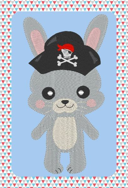 Broderie gratuite à la machine lapin pirate