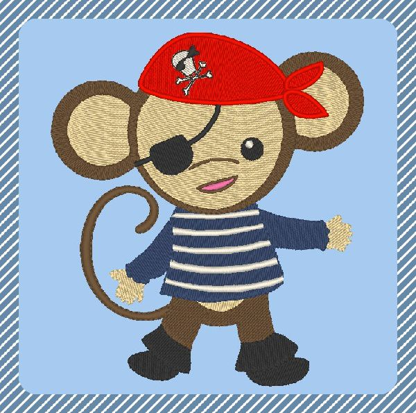 Broderie gratuite machine petit singe pirate