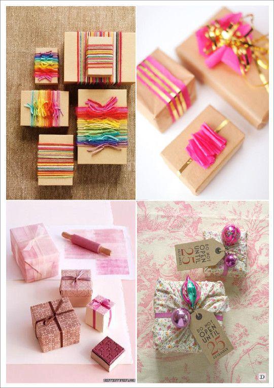 idées emballage cadeau noel fil ruban