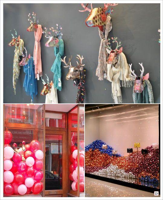 decoration vitrine de noel tete cerf ballon