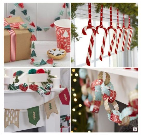 decoration noela suspendre guirlande fanions chaines en papier