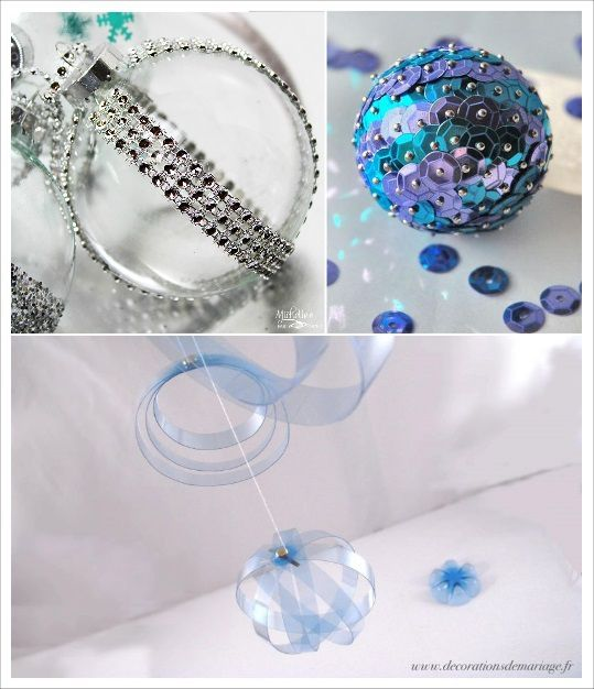 idees diy boule de noel paillettes sequins recup ruban strass