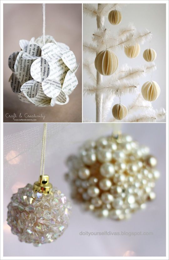 diy boule de noel perles papier journal
