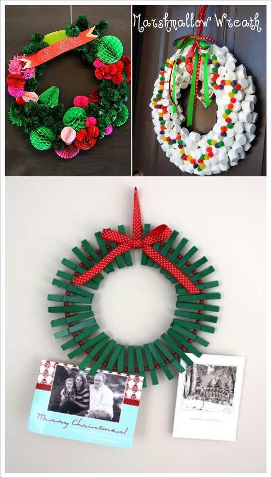 decoration couronne de noel pince à linge bonbons boule papier alveole