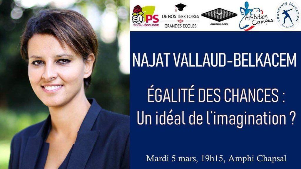 Égalité des chances: un idéal de l'imagination ? Débat autour de Najat Vallaud-Belkacem. Sciences Po Paris - 5 mars