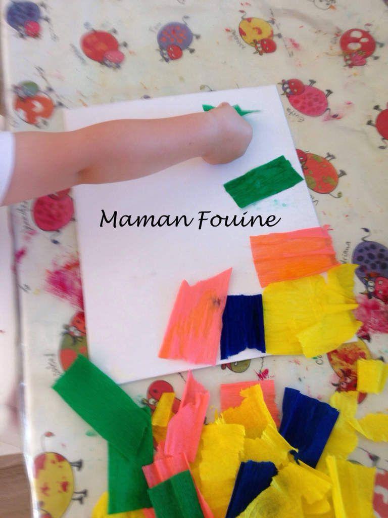 Activité Manuelle Avec Du Papier Peint toile au papier crépon et eau - maman fouine