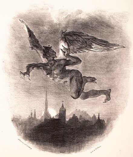 Méphistophélès dans les airs. Planche illustrant Faust de Goethe. Lithographie (1828)