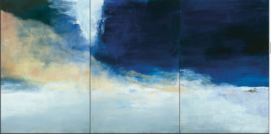 Le vent pousse la mer (2004). Huile sur toile 194,5 x 390 cm. Coll. privée