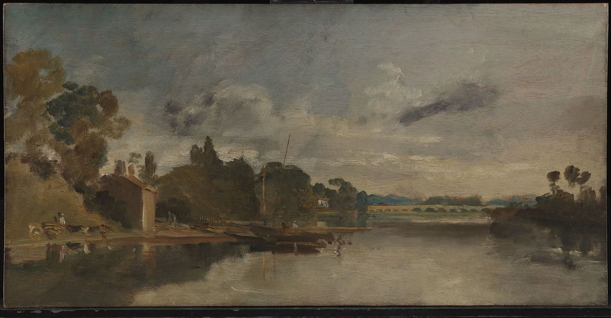 Joseph Mallord William Turner, La Tamise près de Walton Bridges (1805). Huile sur placage d'acajou, 37,1 × 73,7 cm. Tate : parvenu dans les collections nationales avec le legs Turner en 1856 © Tate, London, 2019