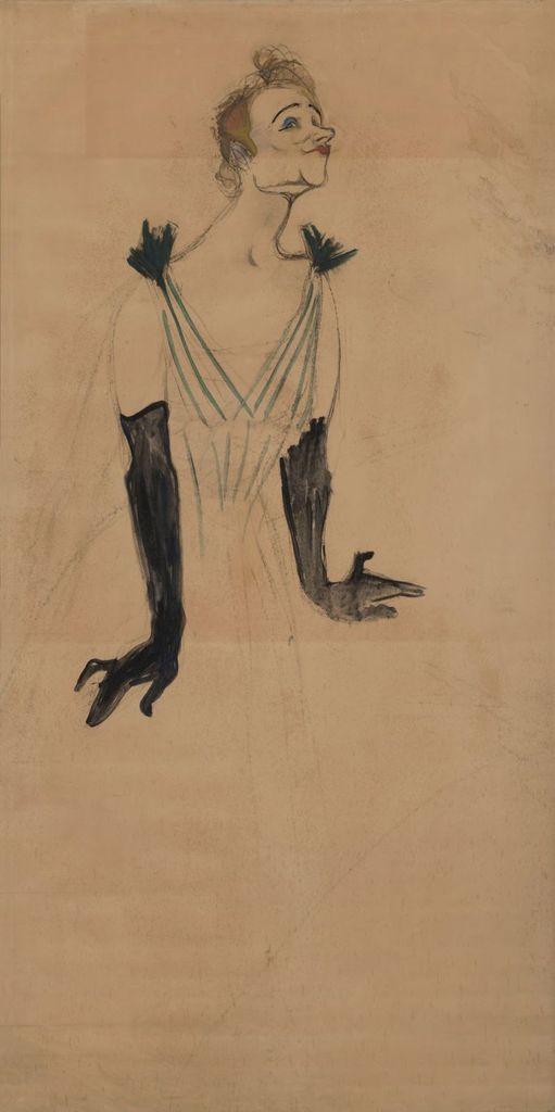 Yvette Guilbert. 1894, projet d'affiche, huile sur carton, 184 x 92 cm, Albi, musée Toulouse-Lautrec. © Musée Toulouse-Lautrec