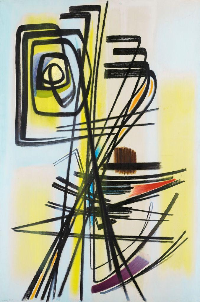 T1947-12. Huile sur toile, 1947, 146 x 97 cm. Fondation Hartung-Bergman, Antibes.