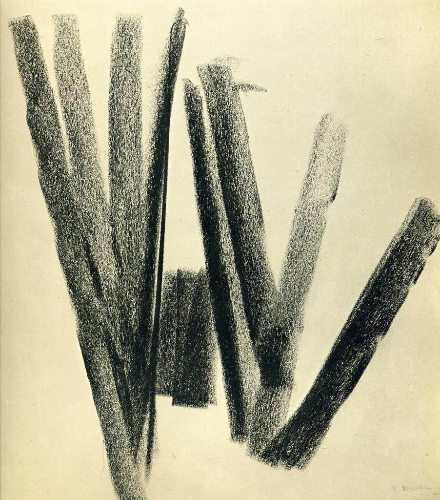 Sans titre, 1924. Craie noire sur papier, 34,5 x 32, 7 cm. Fondation Hartung-Bergman, Antibes.