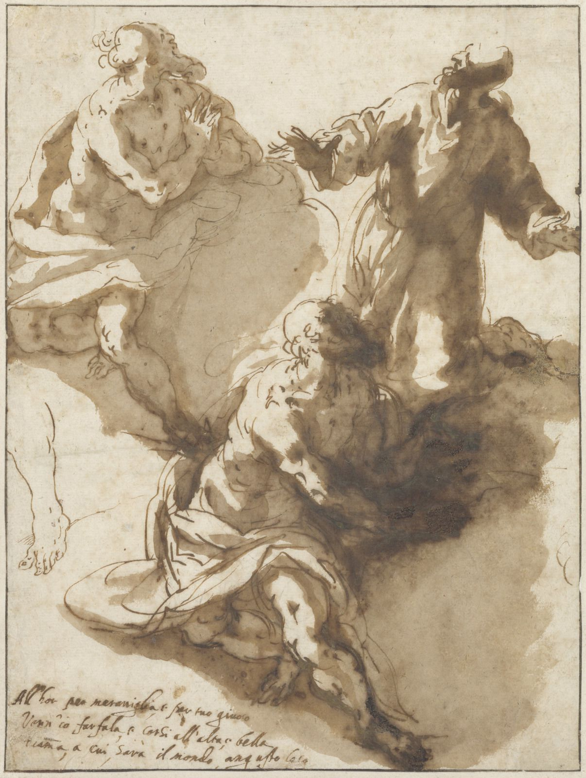 Alessandro Maganza (Vicenza 1556 – ap. 1632 Vicenza), Trois études de saints dans les nuages. Plume et encre brune, lavis brun. – 270 × 203 mm Fondation Custodia, Collection Frits Lugt, Paris, inv. 1973-T.44