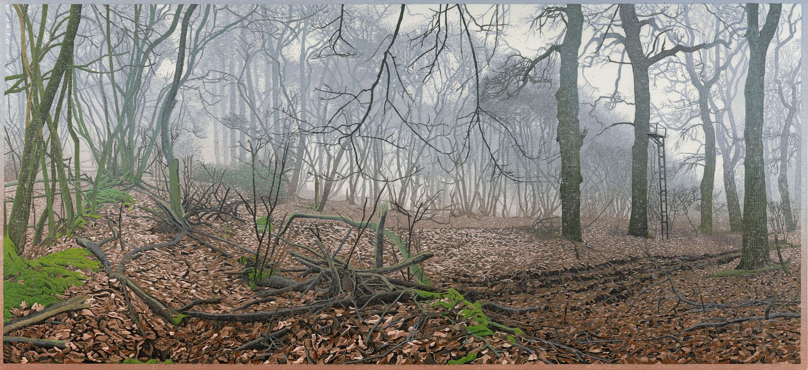 Siemen Dijkstra, 1999 – 2017 – De Bork, 2017. Gravure sur bois en couleurs. – 380 × 820 mm Collection de l'artiste © ADAGP, Paris 2019 / photo : Bert de Vries, Beeldwerk