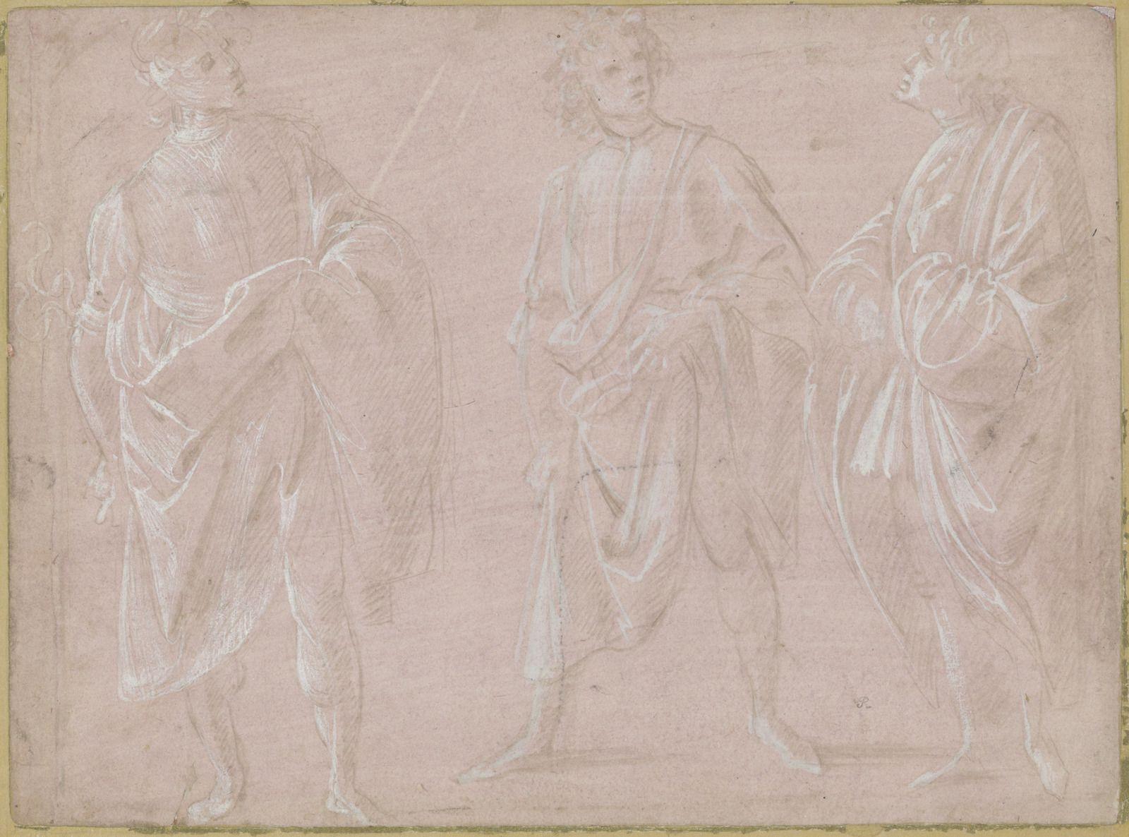 Filippino Lippi (Prato v. 1457 – 1504 Florence), Trois études d'un jeune homme portant un manteau. Pointe d'argent et rehauts de blanc sur papier préparé rose. – 205 × 277 mm Fondation Custodia, Collection Frits Lugt, Paris, inv. 5816