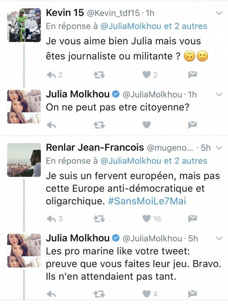 Julia Molkhou, présentatrice sur LCI, ferme son compte twitter après avoir appelé à battre Marine Le Pen et le fascisme
